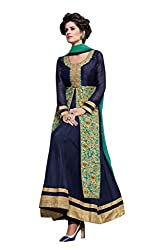 BanoRani Navy Blue Color Faux Georgette & Net Embroidery Full Length Anarkali Gown Style with Long Jacket Semi Stitched Dress Material