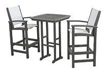 Hot Sale POLYWOOD PWS156-1-GY901 Coastal 3-Piece Bar Set, Slate Grey/White Sling