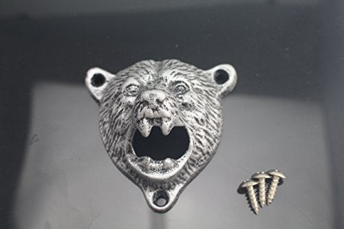 Tozz Pro  Cast Iron Wall Mount Grizzly Bear Teeth Bite Bottle Opener (White Bear) (Bottle Opener Wall Mounted White compare prices)