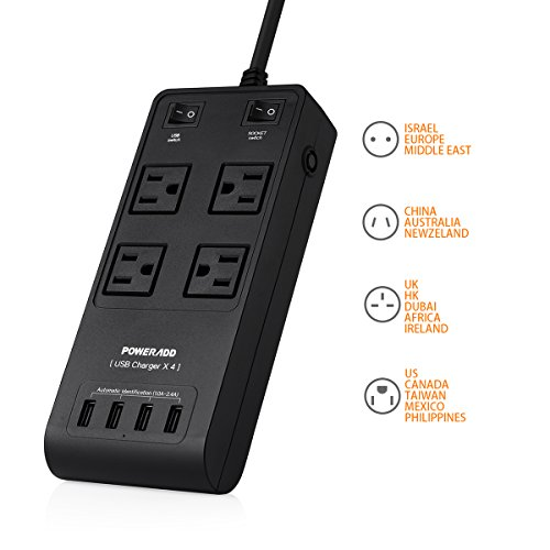Travel Surge Protector Poweradd International Adapters Universal AC 100V to 240V Input with Worldwide Interchangeable UK/AU/EU Plugs + 4-Outlet Power Strip & 4-Port Smart USB Charger Station