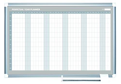 MasterVision Magnetic Gold Ultra Yearly Dry Erase Planning Board, 36 x 48 Inches, Aluminum Frame (GA0594830) (Perpetual Sliding Calendar compare prices)