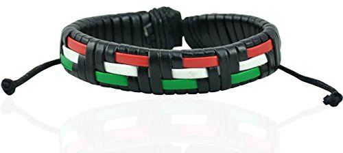 "ALPHA MAN ""TriState Adventure Holiday in Boots"" Tricolour and Black Thread-Woven Faux Leather Bracelet"