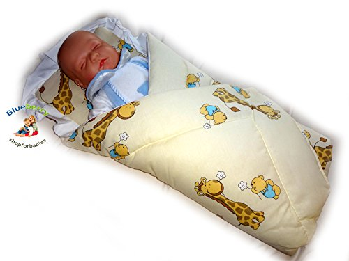 Blueberry Shop Newborn Baby Swaddle Wrap Blanket Duvet Sleeping Bag Baby's Horn Cream - 1