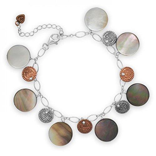 7.5 Inch+1 Inch Two Tone Shell Bracelet