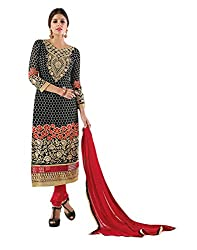 Lookslady Brand Women's Clothing Georgette Black Semi stitch Salwar Kameez Dupatta Suit | Quality Checked | Genuine Product | Not a ready made dress