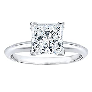 1 carat Princess Cut Moissanite Solitaire Engagement Ring Set in 14k White Gold in Finger Size 7.25, sizeable from TwoBirch