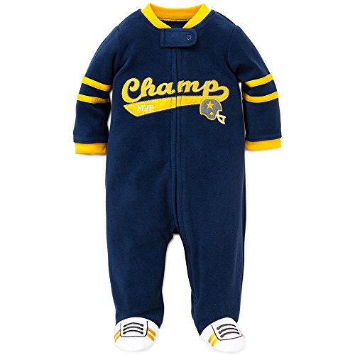 Little Me Champ Warm Fleece Blanket Sleeper Footie Footed Pajama Navy Yellow 12M (Mustard Pie 12 Months compare prices)