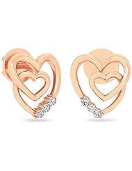 WearYourShine By PC Jeweller The Sevda Heart 18 K Gold And Diamond Stud Earrings