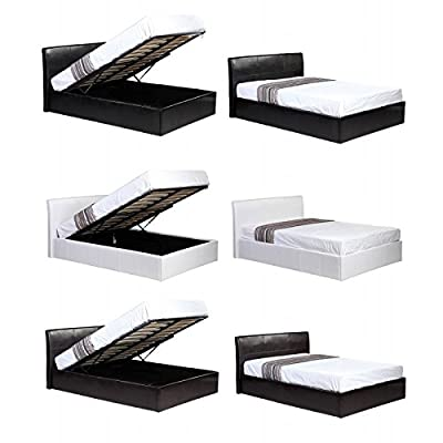 4ft6 Double Faux Leather Ottoman Under Storage Bed - Available in Black, Brown + White - Gas Lift Up Storage Space - Perfect for storing DVD's, Shoes, Bedding and more
