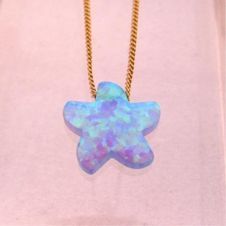 Blue Opal StarFish Pendant Gold Filled Necklace