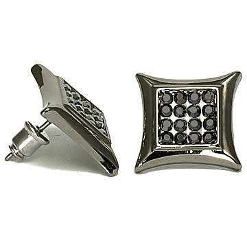Large Blackout Men's Kite Micro Pave Cubic Zirconia Stud Earrings