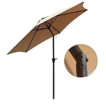 Le Papillon 9 ft Outdoor Patio Umbrella Aluminum Table Market Umbrella 6 Ribs Crank Lift Push Button Tilt, Beige