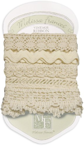 Melissa Frances 5-Style Craft Lace Trim, 18-Inch, Cream