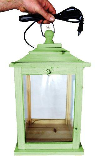 Holzlaterne, als Glasvitrine mit Beleuchtung, mit Glas und Holz - Rahmen, mit Holz - Deko KL-OFOS-MOOSGRÜN aus Holz XXL moosgrün grün
