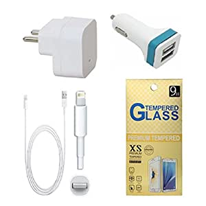 13Tech 1.0 Amp USB Charger+3 mtr Copper (Data Transfer+Charging) Cable+2 Jack Car Charger+Tempered Glass for Apple Iphone 6