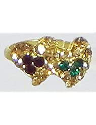 Green, Maroon And Light Brown Stone Studded Adjustable Ring - Stone And Metal