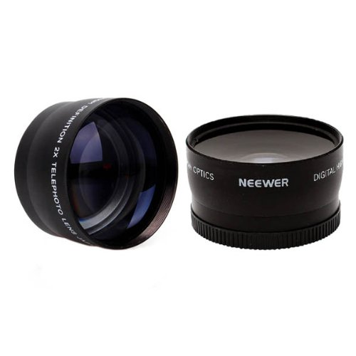 Neewer® 52Mm Camera Lens Kit: 2X Magnification Telephoto And High Definition 0.45X Wide Angle With Macro Portion Lenses For Nikon Dslr D5200 D5100 D5000 D3300 D3200 D3100 D3000, Canon Eos 650D/600D/550D/500D/1000D/450D/400D/350D/300D/100D/700D (Rebel T4I,