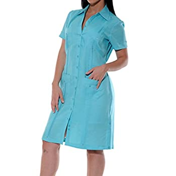 Short Sleeve Linen Guayabera Dress color Jade