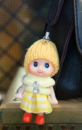 Ciondolo portachiavi a forma di bambolina carina con gonna in lana, stivali e pompon, in morbido cotone lavorato a maglia, con pietre sintetiche, giallo, 8cm heads to toes