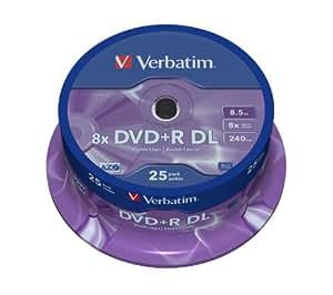 Verbatim 43757 - Pack de DVD+R vírgenes (25 unidades, 8.5 GB, 8x), plateado