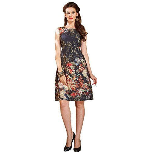 Pakiza Design American Crepe Designer black kurtis dresses Short Gown (X-Large)