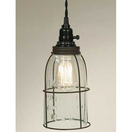 Pendant Lamp, Open Bottom Metal Cage Half Gallon Mason Jar, Green Rust