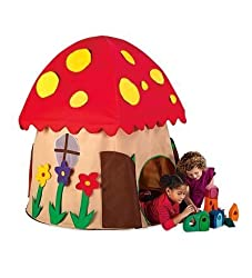 Fabric Mushroom Shaped Playhouse With Two Entrances, Peekaboo Windows And Roomy Interior