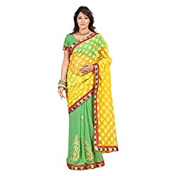 Bikaw Women's Jaquared Saree (RS_Ragini Sarees_02D_Yellow And Green_Free Size)