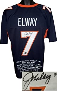 John Elway Autographed Hand Signed Denver Broncos Blue Prostyle Jersey w  Embroidered... by Hall of Fame Memorabilia