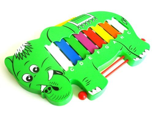 Green Elephant Design Toy Musical Instrument Glockenspiel Xylophone + Beaters