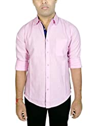 AA' Southbay Men's Light Pink Jute Cotton Long Sleeve Casual Shirt