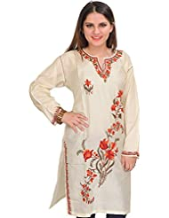 Exotic India Kashmiri Long Kurti With Ari Embroidery By Hand