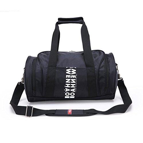 Sacca da ginnastica, iTECHOR Grande capacità delle donne nylon impermeabile Cilindro Tote Cross body Bag Zaini Casual Palestra Sport Bag - Nero