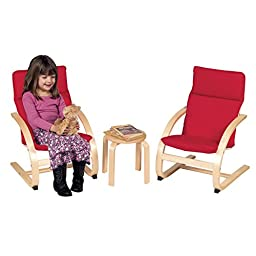 Red Rocker Chair Set, Powder-Coated Lightweight Metal Frame