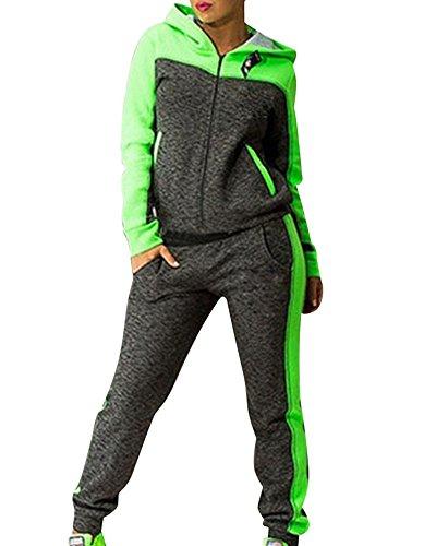 Donne Tuta da Ginnastica Manica Lunga Sport Fitness Jogging Pantaloni Felpa con Cappuccio Verde M