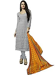 Suchi Fashion Embroidered Grey Georgette Dress Material