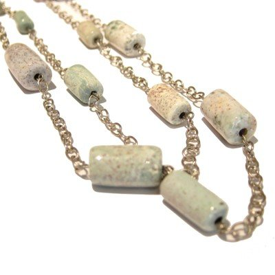 Jasper Necklace 06 Picture Silver Chain White Crystal Healing Long 48