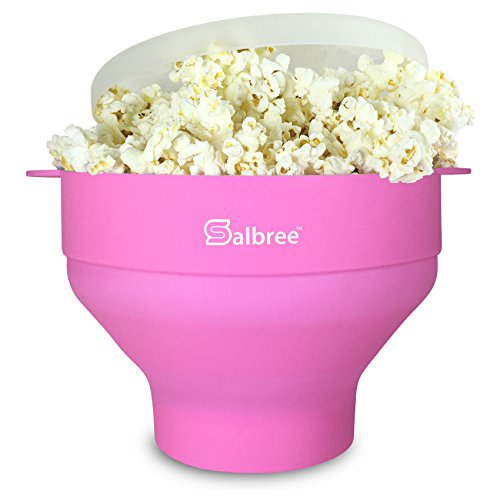 Salbree Collapsible Silicone Microwave Popcorn Popper, Pink (Stand Up Recipe Holder compare prices)