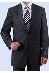 Elegant Men's Executives Black Solid 2 Button, 2 Piece Suit