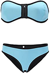 LOUISE MAELYS Women Sexy Halter Top Padded Two-piece Bikini Swimsuit Beach Cover up
