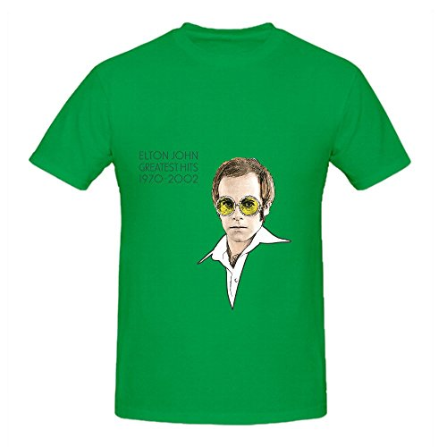 Elton John The Greatest Hits 1970 Mens Crew Neck Funny T Shirt Green (Green Tye Dye Long Sleeve Shirt compare prices)