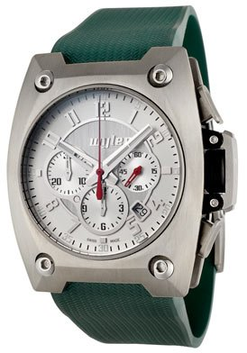 Men's Code R Automatic Chronograph Silver Dial Green Rubber