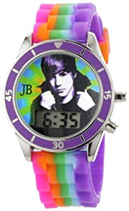 Justin Bieber Kids' JB1026 Round Digital Multi-Colored Silicone Strap Watch