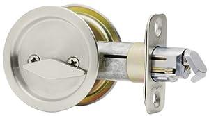 Kwikset 93350-017 Round Bed/Bath Pocket Door Lock (Satin Nickel)