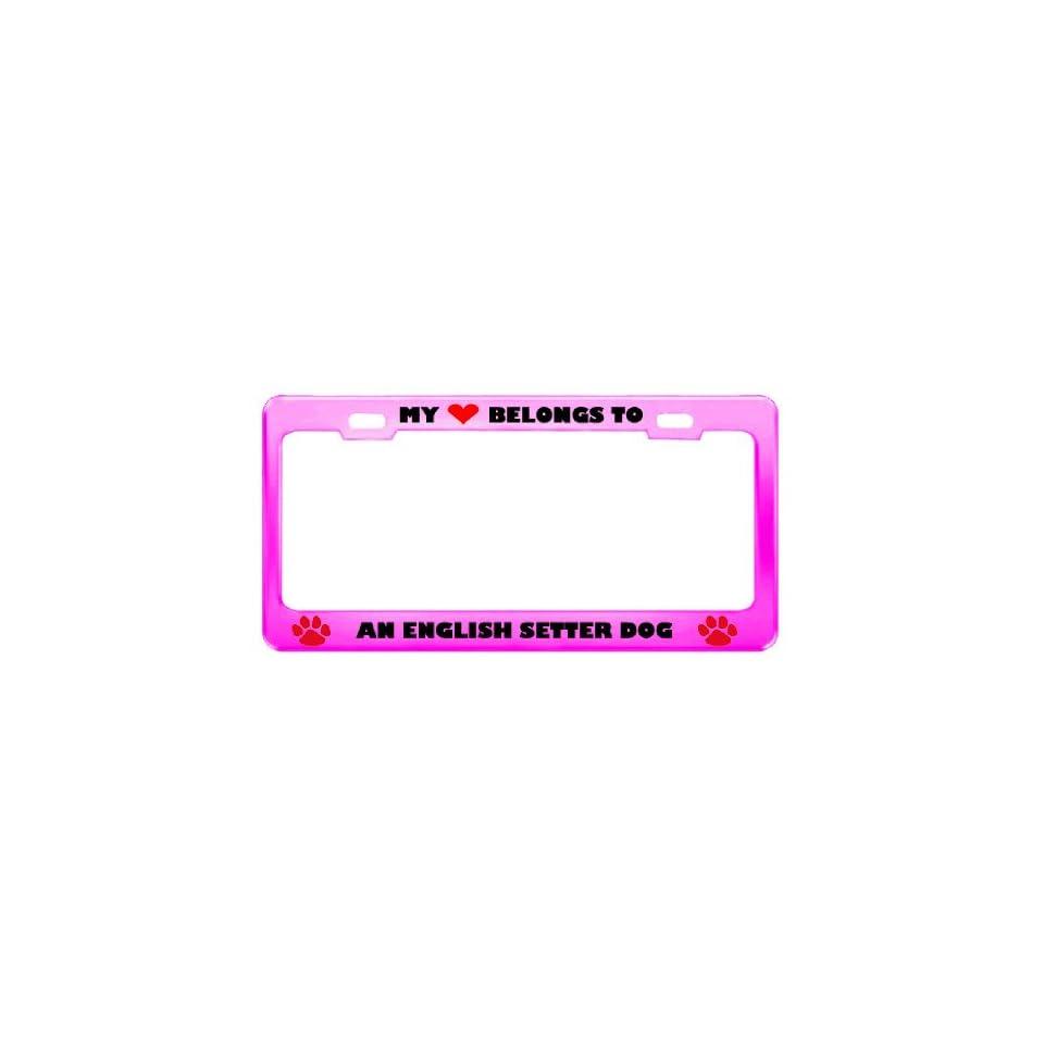 An English Setter Dog Pet Pink Metal License Plate Frame