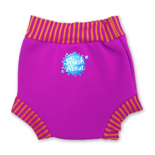 Splash About Neoprene Happy Nappy (Swim Diaper), Pink With Mango Stripe Rib, Xx Large front-7081