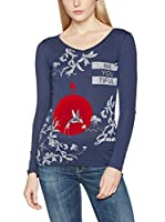 Guess Camiseta Manga Larga Rn Ls Be You Tiful (Azul Oscuro)
