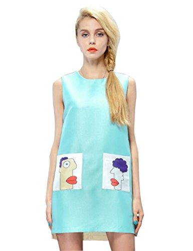 Elf Sack Womens Autumn Dress Sleeveless Contrast Color Pocket Printing Large Size Green
