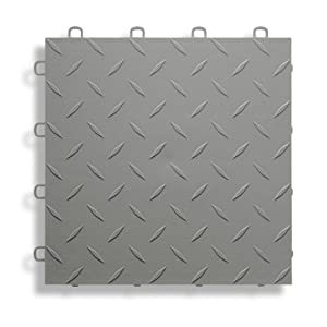 BlockTile B1US4627 Garage Flooring Interlocking Tiles Diamond Top Pack,  Gray, 27-Pack