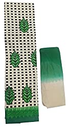 Sanvan Beige Green Cotton Salwar Suit Fabric with Lace Border_SV191SF